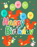 Happy Birthday Card With Cute Squirrel. Vector Illustration. Cute Baby Squirrel. Royalty Free Stock Photos