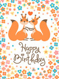 Happy Birthday card with cute squirrels kissing in a cartoon style. Royalty Free Stock Image