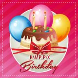 Happy birthday card with cute tart balloon. Additional file in eps 10 file Royalty Free Stock Photography