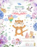 Happy birthday card with cute tiger Watercolor animal. Cute baby greeting card. Boho flowers and floral bouquets Happy Birthday. Set. Watercolor greeting baby stock image