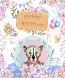 Happy birthday card with cute tiger Watercolor animal. Cute baby greeting card. Boho flowers and floral bouquets Happy Birthday. Set. Watercolor greeting baby royalty free stock photography