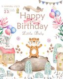 Happy birthday card with cute tiger Watercolor animal. Cute baby greeting card. Boho flowers and floral bouquets Happy. Birthday set. Watercolor greeting baby stock illustration