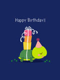 Happy birthday card with cute turtle stock illustration