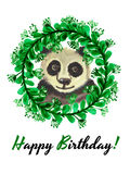 Happy birthday card with cute watercolor panda bear in wreath of leaves and flowers Stock Images