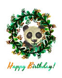 Happy birthday card with cute watercolor panda bear in wreath of leaves and flowers Stock Photos