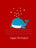Happy birthday card with cute whale. Illustration of happy birthday card with cute whale on red background Royalty Free Stock Photo