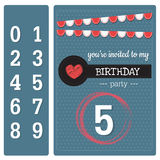 Happy birthday card. Deep blue color of invitation birthday card and number Royalty Free Stock Photo