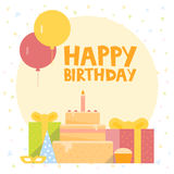 Happy Birthday Card Design with ballons, confetti, cake and gift box. Vector illustration Royalty Free Stock Images