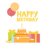 Happy Birthday Card Design with ballons, confetti, cake and gift box. Vector illustration Stock Photos