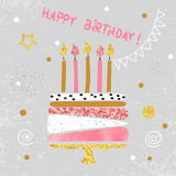 Happy Birthday card design. Birthday cake with candles. Vector illustration Royalty Free Stock Photos