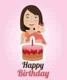Happy birthday card design. Happy birthday colorful card design, vector illustration Royalty Free Stock Photo