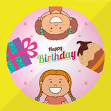 Happy birthday card design. Happy birthday colorful card design, vector illustration Royalty Free Stock Images