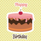 Happy birthday card design. Happy birthday colorful card design, vector illustration Royalty Free Stock Photography