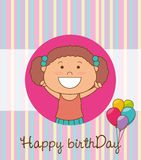 Happy birthday card design. Happy birthday colorful card design, vector illustration Royalty Free Stock Photos