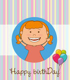 Happy birthday card design. Happy birthday colorful card design, vector illustration Stock Images