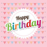 Happy birthday card design. Happy birthday colorful card design, vector illustration Stock Photography