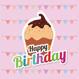 Happy birthday card design. Happy birthday colorful card design, vector illustration Royalty Free Stock Image