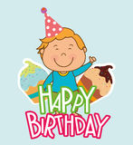 Happy birthday card design. Happy birthday colorful card design, vector illustration Royalty Free Stock Photo