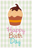Happy birthday card design. Happy birthday colorful card design, vector illustration Stock Photos