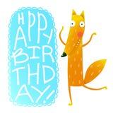Happy birthday card design with cute cartoon fox Royalty Free Stock Photos