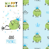Happy Birthday card design with cute Prince Frog. Royalty Free Stock Photos