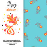 Happy Birthday card design with firebird. Stock Photos