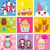 Happy Birthday Card design with Kawaii Cupcake squirrel ladybug monkey matryoshka owl penguin, pastel colors. Vector. Illustration Stock Photos