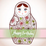 Happy Birthday Card Design. Russian Doll Matrioshka Babushka Sketch With Flowers. Vintage Style Picture. Vector Royalty Free Stock Photos