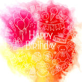 Happy birthday card design on watercolor background. Vector illustration Stock Images