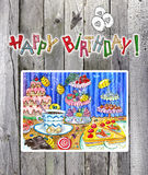 Happy birthday card with drawing on planks Stock Images