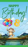 Happy Birthday card for eight year old. Illustration Stock Images