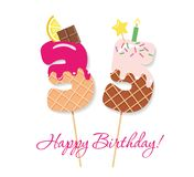 Happy Birthday card. Festive sweet numbers 35. Coctail straws. Funny decorative characters. Vector. Happy Birthday card. Festive sweet numbers 35. Coctail Royalty Free Stock Photography
