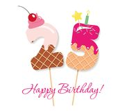 Happy Birthday card. Festive sweet numbers 25. Coctail straws. Funny decorative characters. Vector. Illustration Royalty Free Stock Photo