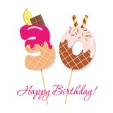 Happy Birthday card. Festive sweet numbers 30. Coctail straws. Funny decorative characters. Vector. Illustration Royalty Free Stock Photo
