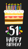 Happy Birthday card 51 fifty one year cake. Happy birthday number 51, greeting card for fifty one years in fun art style with cake and candles. Anniversary Royalty Free Stock Image