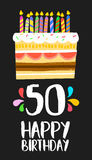 Happy Birthday card 50 fifty year cake. Happy birthday number 50, greeting card for fifty years in fun art style with cake and candles. Anniversary invitation Stock Photos