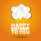 Happy birthday card with flat white letters and ballons. On bright background, vector illustration Royalty Free Stock Photography
