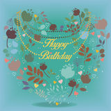 Happy birthday card with floral heart Royalty Free Stock Image