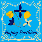 Happy birthday card with flower frame. Vector illustration. Postcard Royalty Free Stock Images