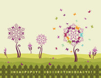 Happy birthday card with flowers Stock Image