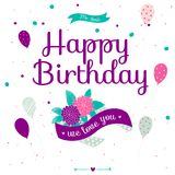 Happy Birthday card with flowers, balloons and ribbons Stock Photography