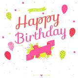 Happy Birthday card with flowers, balloons and ribbons Stock Images
