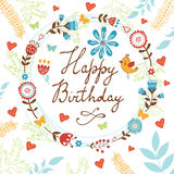 Happy Birthday card with flowers, birds and Stock Image