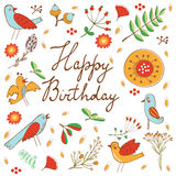 Happy Birthday card with flowers and birds Royalty Free Stock Photography