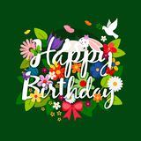 Happy birthday card with flowers bouquet. And bird on bright green background. Vector illustration Stock Image