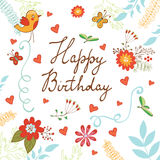 Happy Birthday card with flowers and butterflies Royalty Free Stock Images