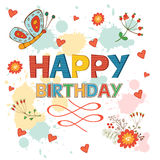 Happy Birthday card with flowers and butterflies Royalty Free Stock Photos