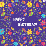 Happy birthday card with flowers frame Royalty Free Stock Image