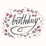 Happy Birthday card with flowers. You can place your own text on the bottom. Vector and illustration design Stock Image