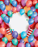 Happy Birthday Card with Flying Balloons, Red Rockets and Lollip Royalty Free Stock Image